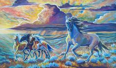 Original acrylic on canvas painting Mustang horses ' Time To Move' Available on Etsy www.etsy.com/shop/JupiterJennyArts