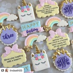 "151 Likes, 5 Comments - Judit Reding (@thesweetdesignsshoppe) on Instagram: ""How cute is this set from @lindseth05 using our unicorn cutters ! ❤️ #plaquecookiecutters…"""