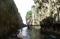 Matapa Chasm - The best place to swim in Niue. Where the sea water and water from the limestone caverns mix.