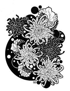 Chrysanthemums Japanese Tattoo Designs, Flower Tattoo Designs, Flower Designs, Blackwork, Chrysanthemum Tattoo, Line Flower, Botanical Tattoo, Art Japonais, Japanese Flowers