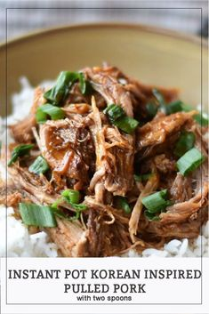 This Instant Pot Korean Inspired Pulled Pork is perfect for making rice bowls, sandwiches, wraps, or tacos! Easy and hands off! Perfect for making ahead! Instant Pot Pressure Cooker, Pressure Cooker Recipes, Pressure Cooking, Slow Cooker, Pork Recipes, Real Food Recipes, Korean Recipes, Pork Brisket, Amigurumi