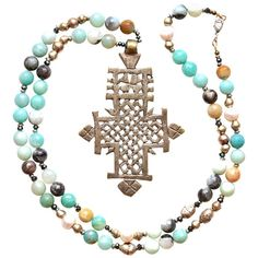Celtic Cross + Amazonite Beaded Necklace