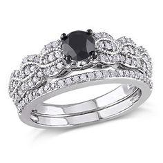 Silver 1 ct tw Black/White Diamond Bridal Set