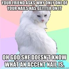 Beauty Addict Kitty - Your friend asks why only one of your nails has glitter on it OH GOD SHE DOESN'T KNOW WHAT AN ACCENT NAIL IS.