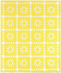 Lemon Stars designed by Darlene Zimmerman - Free pattern download. Featuring Highlight: the Kona Cotton Solids 2016 Color of the Year. #KonaColoroftheYearEntry