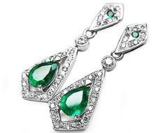 White gold pear shaped Colombian emerald earrings