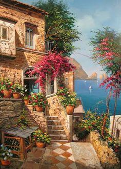 A 108 pieces jigsaw puzzle from Jigidi Wonderful Places, Beautiful Places, Beautiful Pictures, Beautiful Paintings, Beautiful Landscapes, Landscape Art, Landscape Paintings, Landscape Designs, Beautiful World