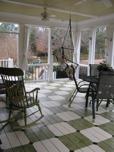 Painted porch floor and ceiling