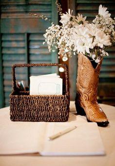 country cowboy wedding centerpiece / http://www.deerpearlflowers.com/cowgirl-boots-fall-wedding-ideas/2/