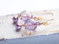 I Love Lavender Gold Earrings | Bees and Buttercups Handmade Gift Shop / Panama City Florida