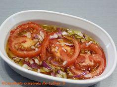 Les plats cuisinés de Esther B: Vinaigrette pour tomates marinées Esther, Ketchup, Vegetable Recipes, Salsa, Vegetables, Food, Cooking, Cold Dips, Hot Appetizers