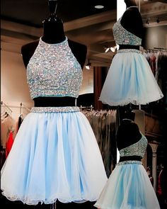 Formal Prom Dresses, light sky blue homecoming dresses tulle homecoming dress 2 pieces prom dress two piece cocktail dresses sweet 16 gowns Brickell Bridal Light Blue Homecoming Dresses, Backless Homecoming Dresses, Pretty Prom Dresses, Prom Dresses For Teens, Prom Dresses Blue, Prom Gowns, Quinceanera Dresses, Short Sparkly Dresses, 1950s Dresses