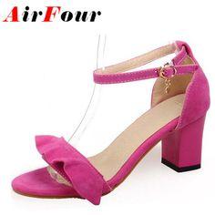 1b9bd54c5d0ca5 Airfour Sweet Ruffles Ankle Straps High Heels Dress Sandals Open Toe Summer  Ladies Shoes Women Big