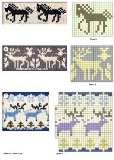 Jacquard patterns with a thematic pattern horse and deer (knitting) Fair Isle Knitting Patterns, Fair Isle Pattern, Knitting Charts, Knitting Stitches, Knitting Socks, Baby Knitting, Crochet Patterns, Chart Design, Cross Stitch Animals