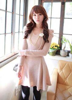 sweater dress plus pearl flower necklace= cute