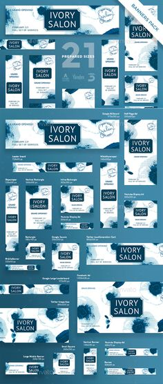 #Ivory #Salon #Banner #template #Pack - Banners & #Ads Web Elements #design. download; https://graphicriver.net/item/ivory-salon-banner-pack/20471075?ref=yinkira