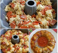 Pizza Pull-Apart Bread *2 (14 oz.) cans of Pillsbury pizza dough (you can use Grand biscuits) *2 cups shredded Mozzarella cheese *1/2 tbsp. basil leaves *1/2 tsp. dried oregano *1/2 tsp. fresh minced garlic *1/3 cup olive oil *1 (8 oz.) package of pepperoni *1 cup Parmesan cheese Preheat oven to 350 degrees. Spray Bundt pan. Cut dough or biscuits into quarters. Add ingredients in bowl & toss so oil is spread evenly on each piece of dough. Bake for 30 minutes. Remove & let rest for 5 minutes.