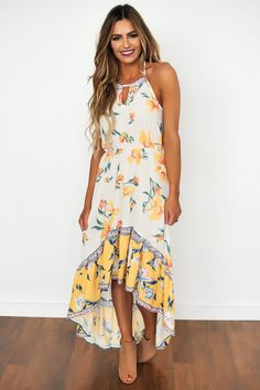 Ivory/Yellow Floral High-Low Dress - Dottie Couture Boutique
