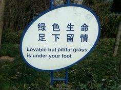 "From Lonely Planet's ""Lost in Translation"" series.  Right now (February) our grass is ""lovable but pitiful"" too."