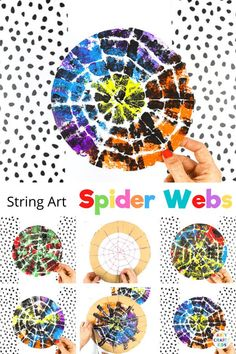 If you're looking for an easy but expressive craft, inspired by nature, our string Halloween spider web art is perfect for your children. Create colorful Halloween decorations or work into bug learning topics; preschoolers + children in early years can use the activity to strengthen fine motor skills and explore color, patterns and artistic expression. Halloween Spider Web Crafts for Kids | Spider Web Art for Kids | Easy Halloween Crafts for Kids | Halloween Art Ideas for Kids #HalloweenCrafts