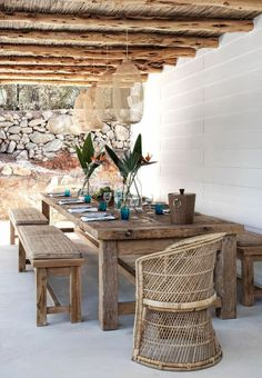 what a gorgeous display of natural finishes in the outdoor dining area, home of , Caroline Legrand, in Ibiza. Decor, Patio Dining, Outdoor Decor, Communal Table, Outdoor Kitchen, Outdoor Dining Table, Home Decor, Dining Table, Outdoor Furniture Sets