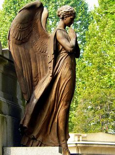 A solemn angel sentinel. She is standing guard in protection of a special place. The place might be a cemetery, church, or other unique location.