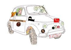 Fiat 500 car - Ink & Collage Illustration