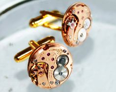 OMEGA Men Steampunk Cufflinks - Made with GENUINE Omega Vintage Watch Movements! Available at TimeInFantasy. $175.00