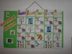 Náš obrázkový rozvrh. Dětem se tak lépe chystá na jednotlivé předměty, než se naučí číst.