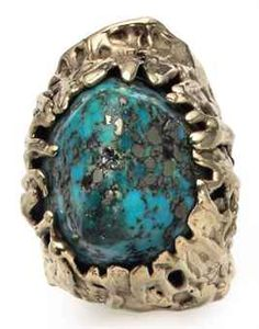 $15,000 Charles Loloma (Hopi) ring. Tufa cast in 14k gold with Morenchi turquoise set in deep prongs of organic, grass-like forms.