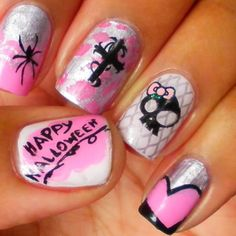 Halloween Nails they look almost like monster high or sweet cookie soooo cute #HolidayNails