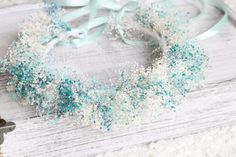 Tie Back Dried Flowers Wreath, Rustic Wedding Accessories, Baby's Breath Floral Crown,Teal ,Blue,Baby's breath crown