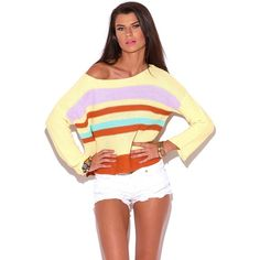 Cozy Comfy Sweater This cozy and comfy sweater is a timeless piece! Featuring pretty pastel striped knit, slit on sides, dolman sleeves and a wide neckline and allows you to wear it off the shoulder. This cute top is great for anything from school and work to Sunday brunch with the girls. 55% acrylic, 45% cotton. Imported. Model is wearing a size small.SHIPS11/11 Sweaters