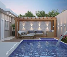 Sixth pre holiday starting! How about such a recreation area to enjoy … - Piscina Small Backyard Pools, Backyard Pool Designs, Small Pools, Swimming Pools Backyard, Swimming Pool Designs, Backyard Patio, New Patio Ideas, Outdoor Spaces, Outdoor Living