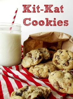 Kit Kat Cookies - the first time I met rod he caught me buying a kit Kat and we played connect Should make these Desserts For A Crowd, Easy Desserts, Delicious Desserts, Yummy Food, Cookie Desserts, Cookie Recipes, Dessert Recipes, Recipes Dinner, Breakfast Recipes