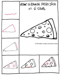 How to draw a Kawaii Pizza