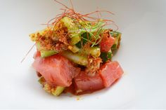 Iron Chef Masaharu Morimoto's Maguro zuke (marinated yellowfin tuna) oh YUM. I LOVE extremely rare or raw tuna.