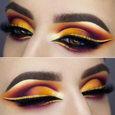 "•Giulianna Maria• (@giuliannaa) on Instagram: ""☀️Warm Sunset ☀️ ✨ @nyxcosmetics ""cougar"" single shadow and halo liner ✨ @doseofcolors lemon drop…"""
