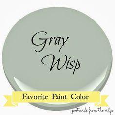 Postcards from the Ridge: Benjamin Moore Gray Wisp ~ Favorite Paint Color #benjaminmoore #graywisp #paintcolor