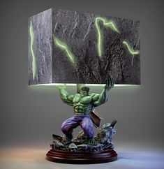Marvel Hulk Smash Collectible Sculpture Table Lamp by The Bradford Exchange: Officially licensed A unique HULK light, this MARVEL collectible lamp is fully sculpted and hand-painted to capture the mean, green superhero in a classic moment of action Green Superhero, Superhero Room, Nerd Room, Gamer Room, Boy Room, Kids Room, Marvel Bedroom, Avengers Room, Marvel Art