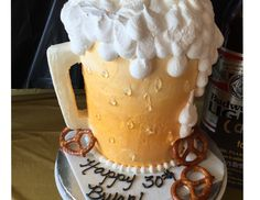 Bryan's 30th Birthday....cake made in the shape of a beer. Awesome idea!