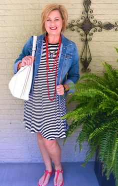 50 IS NOT OLD | Swing Dress | Denim Jacket | Stripes | Labor Day | Fashion over 40 for the everyday woman