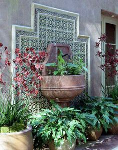 Spanish Courtyard Wall Fountain Bench Bistro Set All