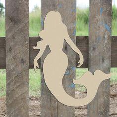 Mermaid Crafts, Mermaid Diy, Mermaid Beach, Wooden Cutouts, Wooden Shapes, Moldes Para Baby Shower, Unfinished Wood Crafts, Arts And Crafts, Diy Crafts