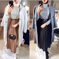 Modest Winter Outfits, Modest Church Outfits, Winter Fashion Outfits, Girly Outfits, Hijab Style Dress, Casual Hijab Outfit, Hijab Chic, Muslim Fashion, Hijab Fashion
