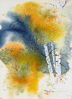 Fall Birch by Mary Dove Watercolor ~ 20 x 16