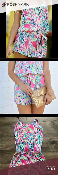 Lilly Pulitzer Deanna Tank Top Romper Size: XS Lilly Pulitzer Tank Top Romper With Sash At Waist. Island Satin (100% Polyester). Machine Wash Cold.  Worn 2 times. Great condition. Lilly Pulitzer Pants Jumpsuits & Rompers