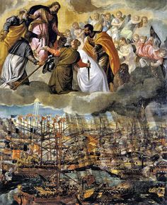 The Virgin Mary assisting the Christian troops in the Battle of Lepanto