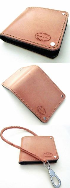 Natural Bifold Wallet. Undyed leather wallet and matching braided wallet chain from San Filippo Leather.