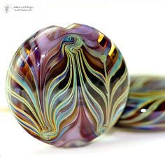 Beautiful glass lampwork bead - Lilac Feathers Button shaped - by radiantmind ♥
